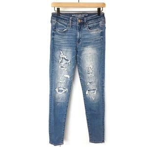AEO | Destroyed Ripped Patch Super Stretch Jegging